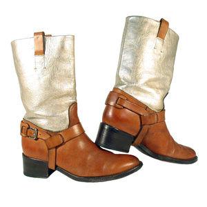 RALPH LAUREN COLLECTION Istara Gold Harness Boots